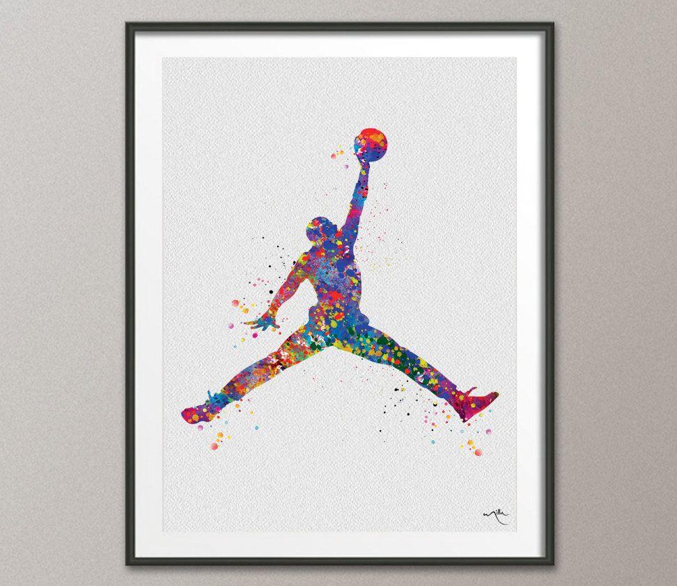pretty nice 98a87 ccdca 972x842 Michael Jordan Watercolor Print Jumpman Basketball Sport Wall Art