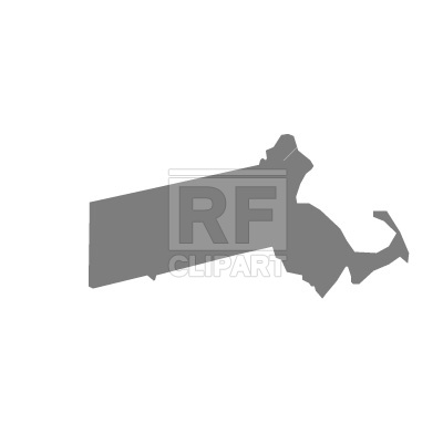 400x400 Massachusetts State Map Silhouette Free Vector Clip Art Image
