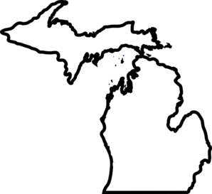 298x273 Michigan Map, Thick Outline Clip Art