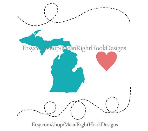 570x502 Michigan Svg State Silhouette, Heart Svg, And Dotted Lines Instant