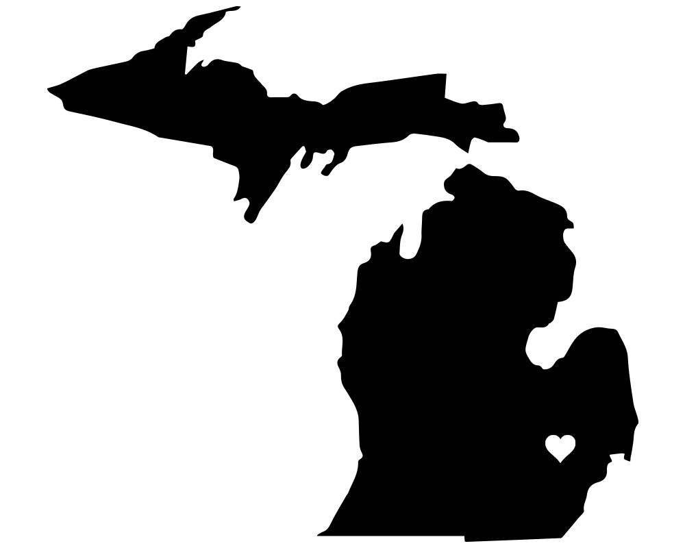1000x800 Michigan Heart Vinyl Decal Sticker From Vinyicustoms On Etsy Studio