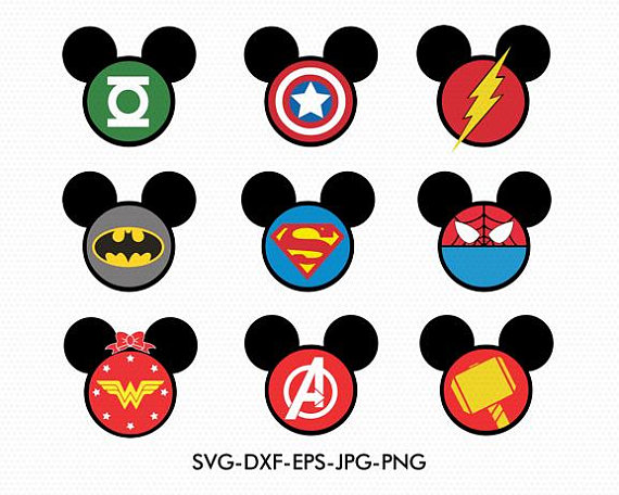 570x456 Superheroes Mickey Minnie Ears Svg, Minnie Bow Disney Monogram