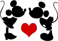 200x144 Custom Vinyl Decal Run Disney Mickey Minnie Love Silhouette Heart