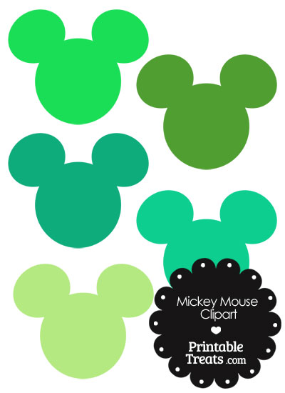 400x550 Mickey Mouse Head Clipart In Shades Of Green Printable