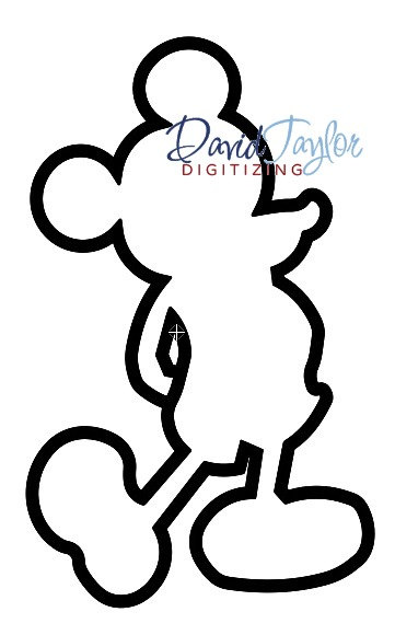 361x580 Mickey Mouse Silhouette Applique Embroidery 2 Designs 1x1 2x2