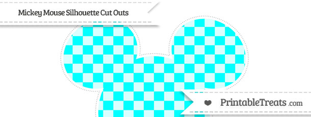 610x229 Aqua Blue Checker Pattern Extra Large Mickey Mouse Silhouette Cut