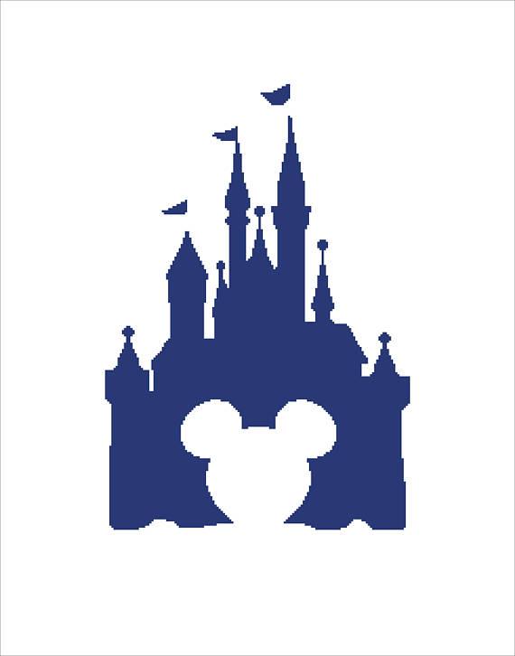 570x726 Buy 2 Get 1 Free Modern Cross Stitch Pattern Disney Castle Mickey