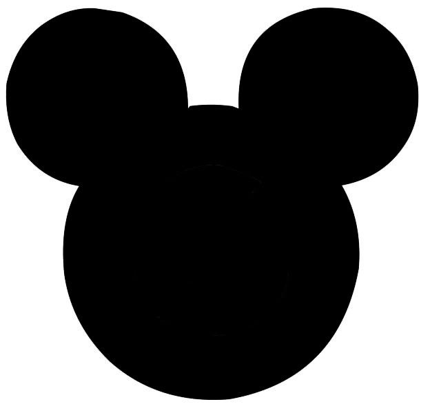 611x599 Black And White Mickey Silhoettes Mickey Head Template Disney