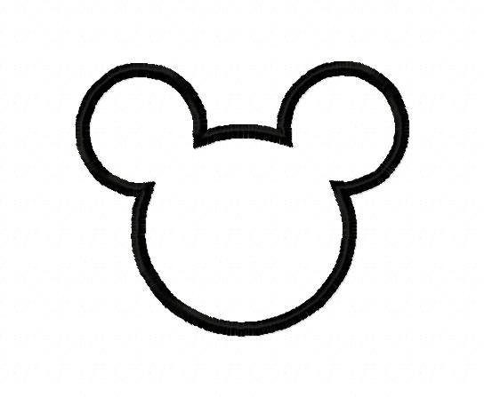 544x447 Mickey Mouse Silhouette Applique Design Instant Download
