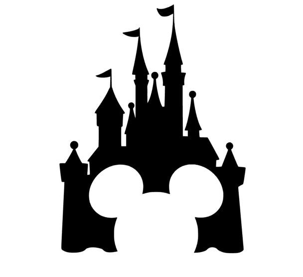 608x555 Disney Castle With Mickey Silhouette Craft Ideas
