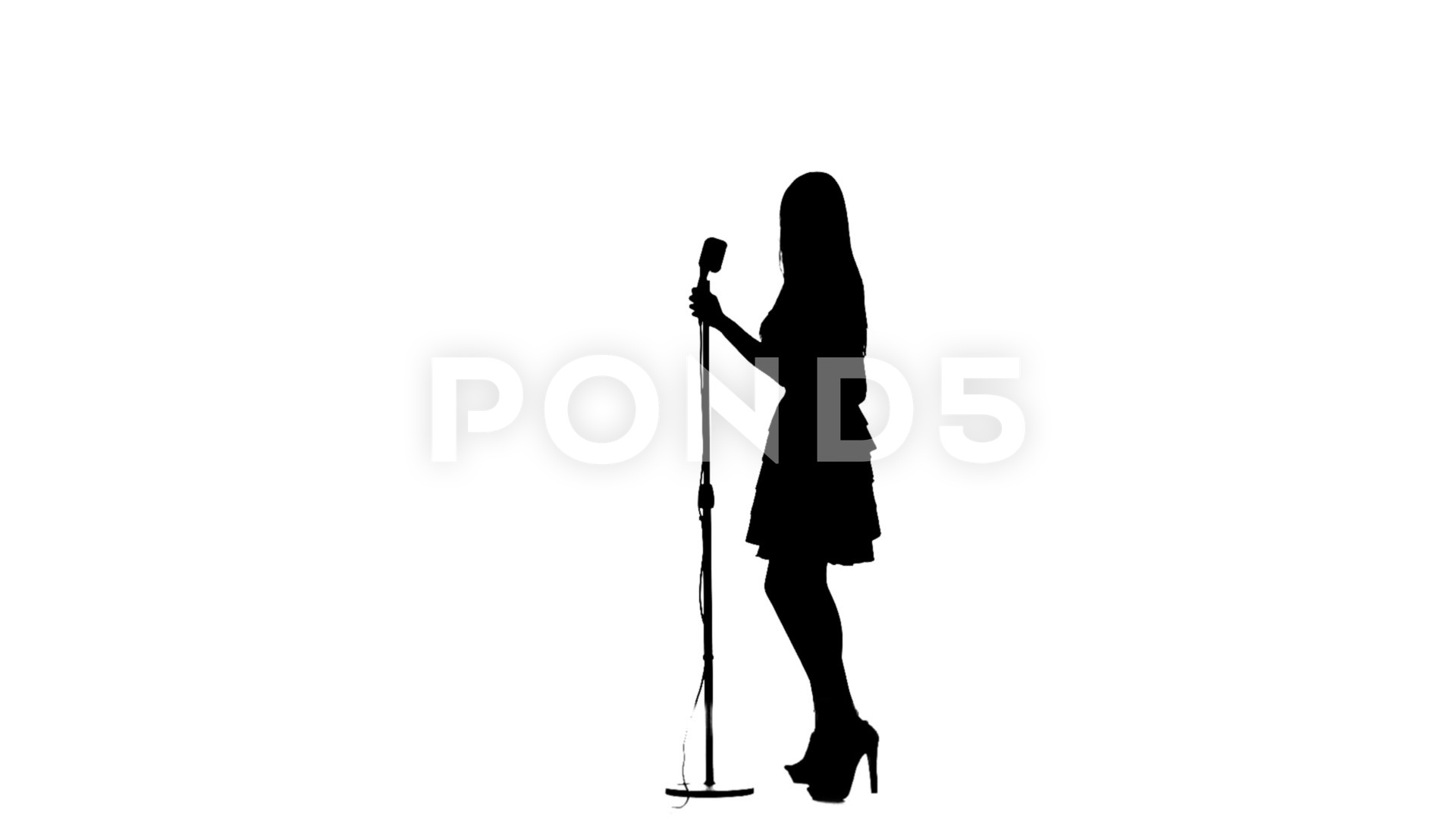 1920x1080 Girl Sings In A Retro Microphone. Silhouette. White Background