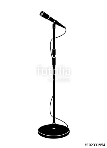 364x500 A Icon Vector Illustration Of A Stage Microphone In Silhouette
