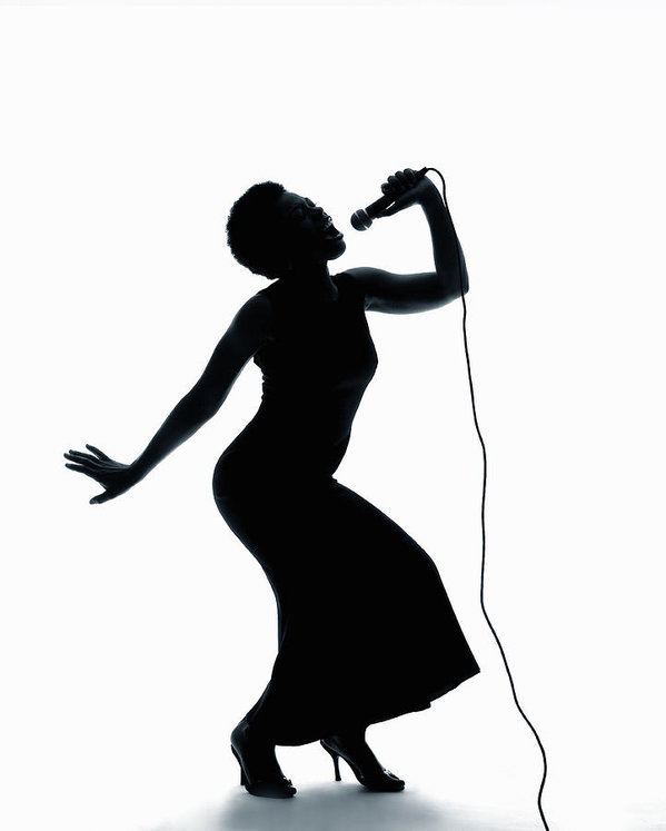 599x747 Silhouette Of Female Singer Singing On Microphone Art Print By Pm