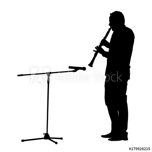 500x500 Silhouette Of A Man Playing On Oboe. Microphone On The Rack