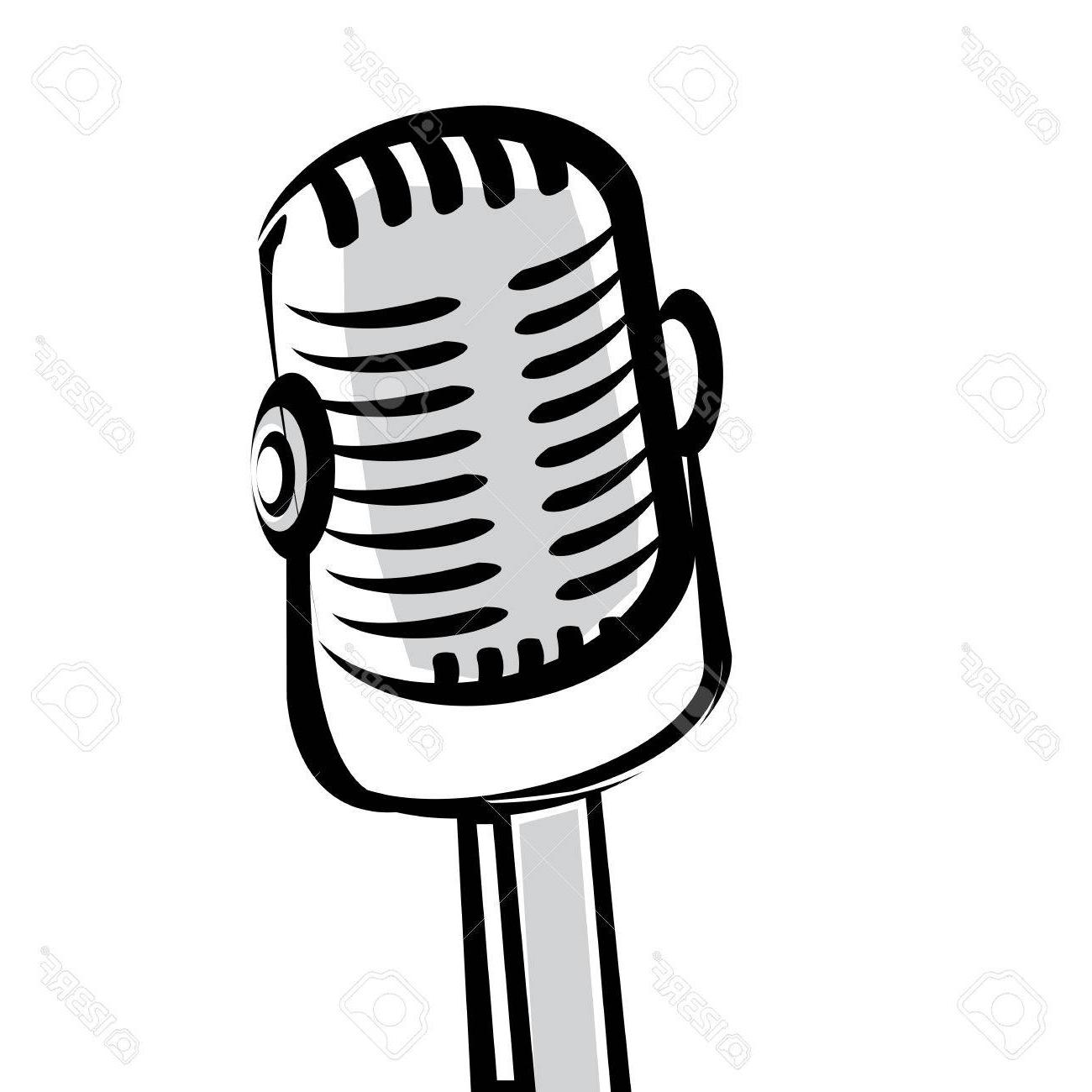 1300x1300 Unique Retro Microphone Silhouette File Free
