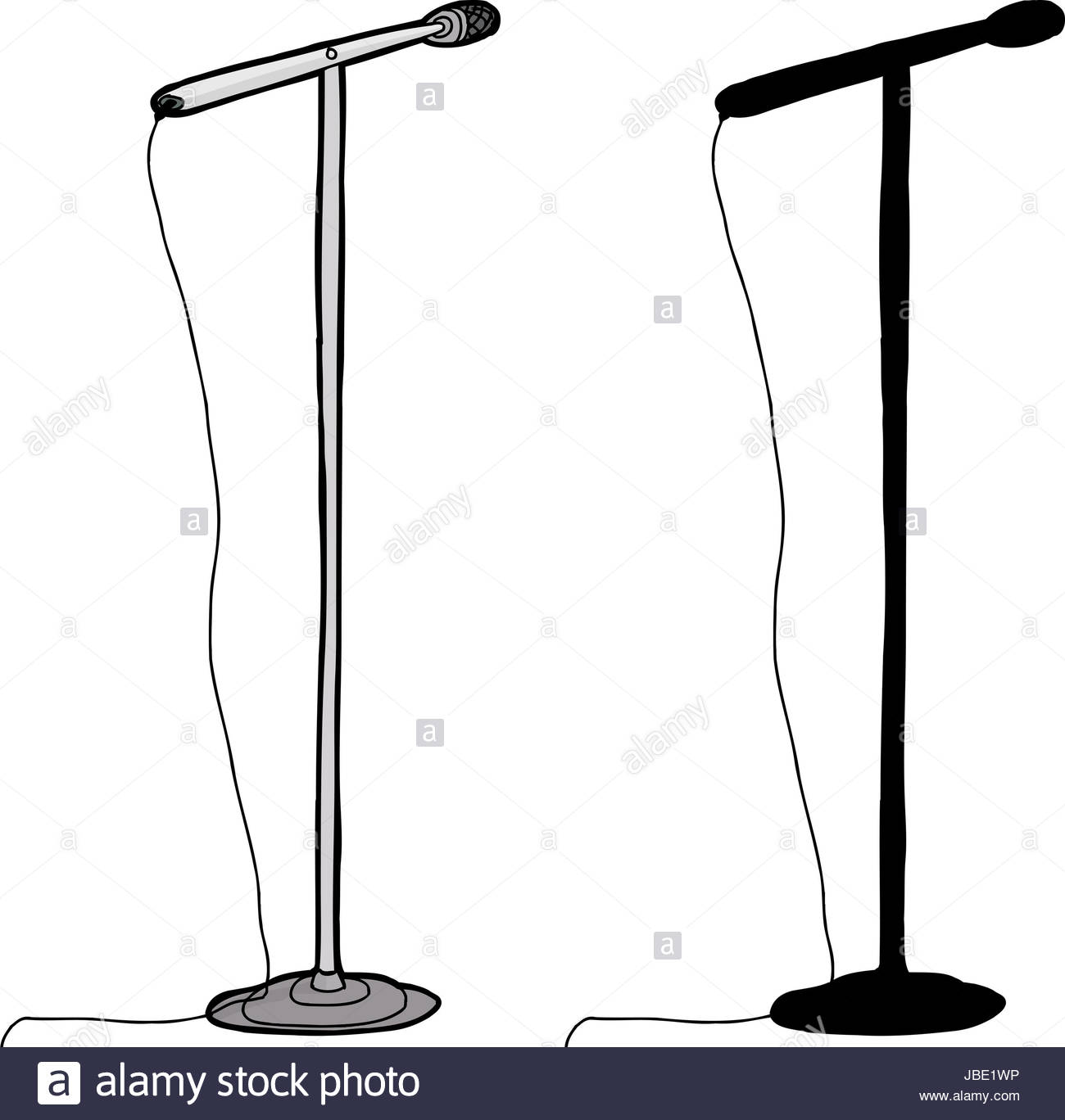 1300x1368 Cartoon And Silhouette Microphone Stand Over White Background