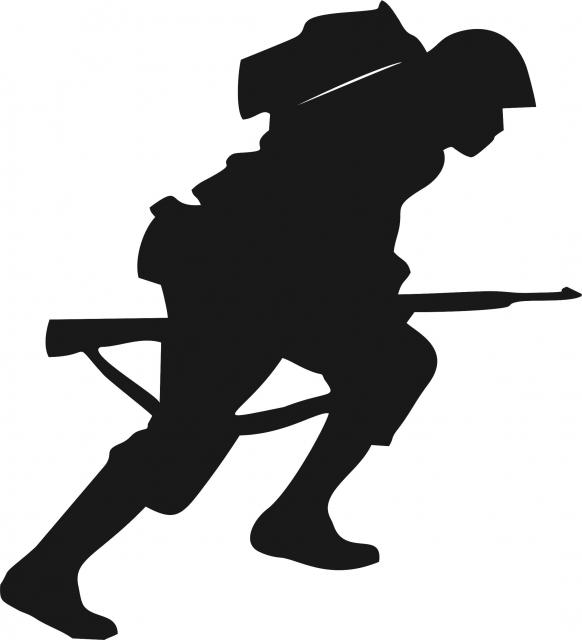 582x640 Military Soldier Lunging Forward Applique Laser Cut Appliques