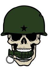 159x235 Skull With Army Helmet And M249 Machine Gun Premium Clipart