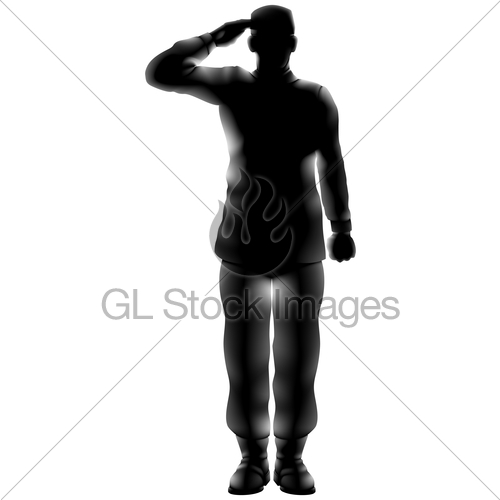500x500 American Soldier Saluting Silhouette Gl Stock Images