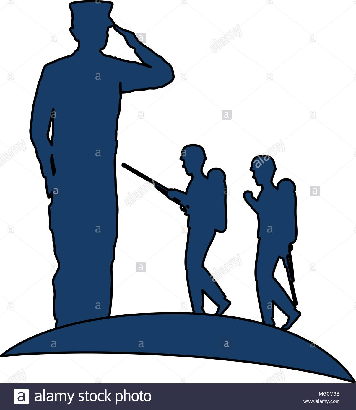 1205x1390 Silhouette Of Military Saluting With Tropers Vector Illustration