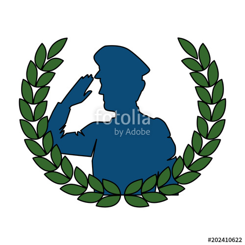 500x500 Silhouette Of Military Saluting With Wreath Vector Illustration