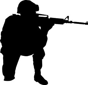 300x289 Haynes Military Soldier I Silhouette Wall Decal Cutout