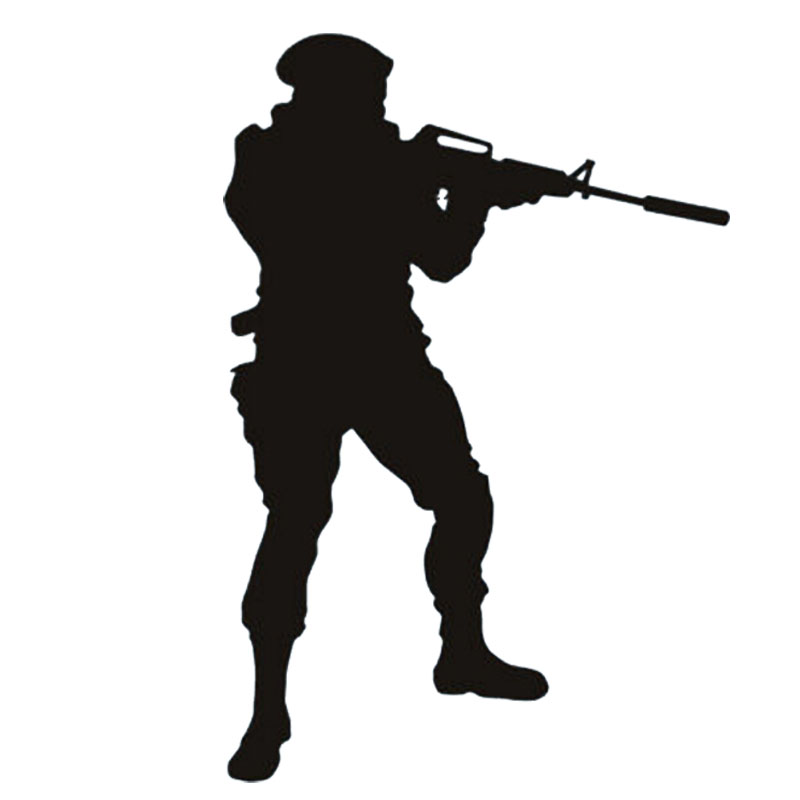 800x800 Soldier Shooting Silhouette Cool Art Sticker Bedroom Army People
