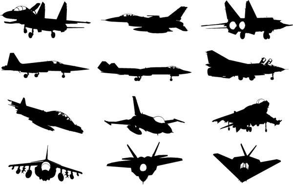 600x379 Military Plane Silhouette Vector Pack Free Vector In Adobe