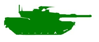 320x135 Army Tank Silhouette 2 Decal Sticker
