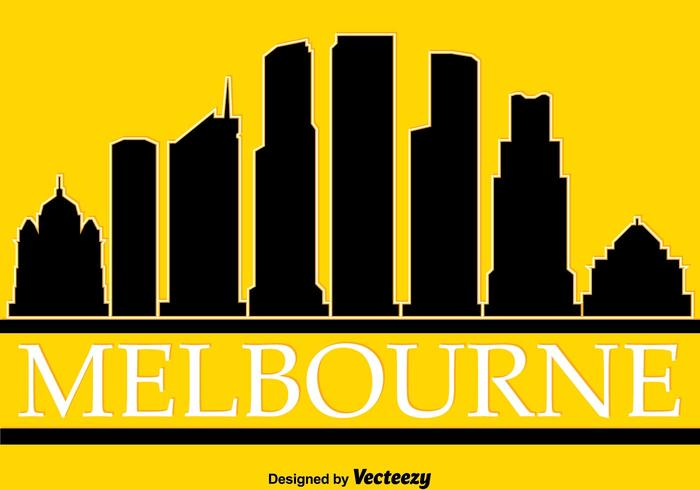700x490 Melbourne Silhouette On Yellow Vector