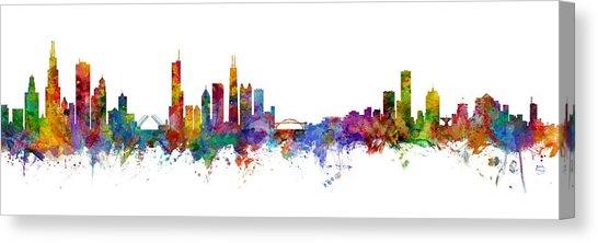 546x222 Milwaukee Skyline Canvas Prints Fine Art America