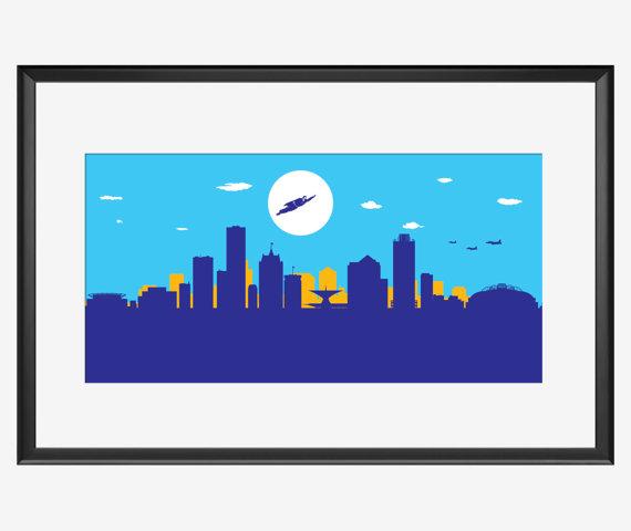 570x480 Milwaukee Skyline Print Milwaukee Art Milwaukee Print