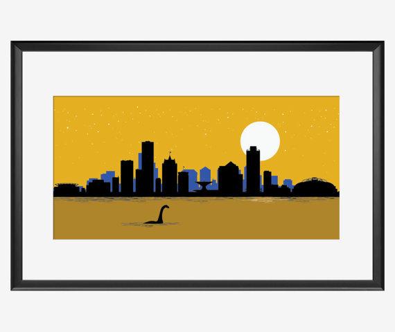 570x480 Milwaukee Skyline Print Milwaukee Poster By Skyworldproject Fun