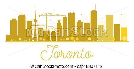 450x234 Toronto City Skyline Golden Silhouette. Vector Illustration