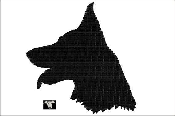 570x379 German Shepherd Dog Head Silhouette Embroidery Mini Designs