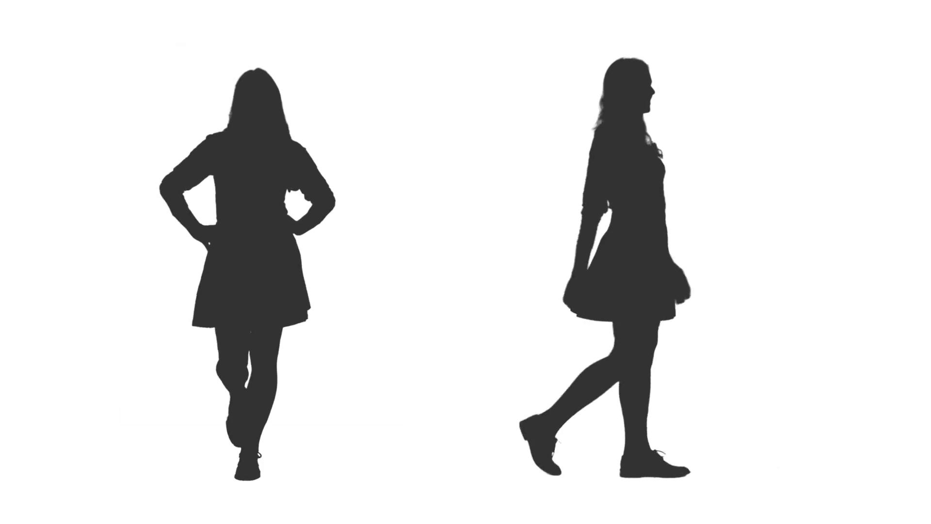 1920x1080 Silhouette Cheerful Young Woman Walking In Mini Skirt, 2 In 1