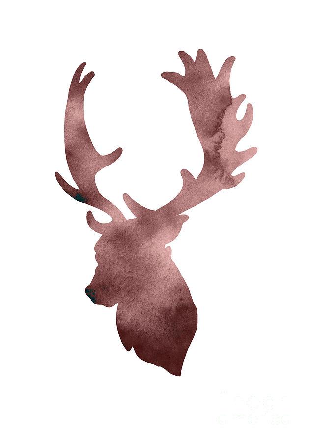 629x900 Deer Head Silhouette Minimalist Painting Painting By Joanna Szmerdt