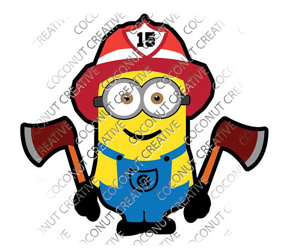 570x494 Minion Firefighter Despicable Me Svg Dxf Eps Jpeg Format Layered