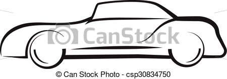 450x157 Car Side View Line Outline Silhouette Drawing Clipart Vector