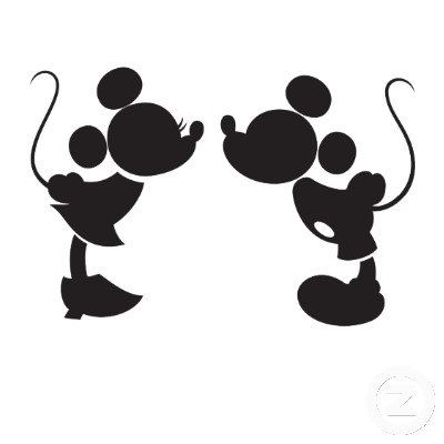 400x400 Mickey And Minnie Kissing Silhouette Decal Mickey Mouse