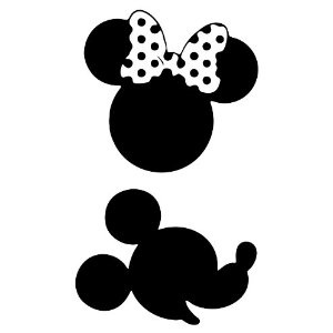 300x300 Mickey And Minnie Silhouettes Mickey And Minnie Mouse Wall Decal