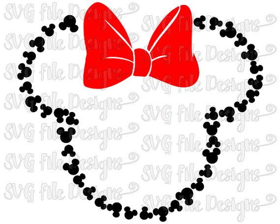 570x456 Mickey Mouse Head Outline With Bow Disney Cutting File In Svg, Eps