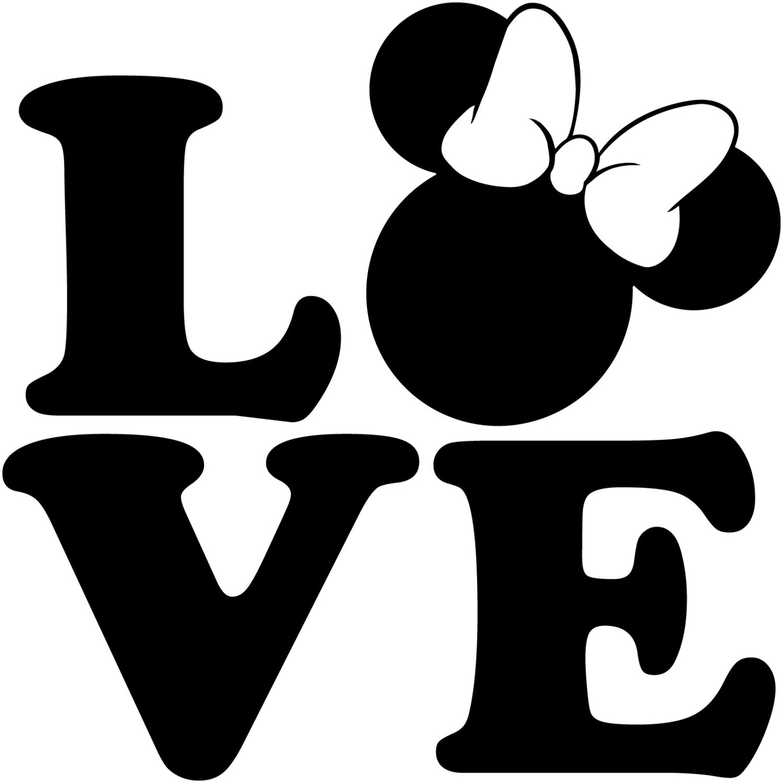 1500x1500 LOVE Minnie Mouse Head Walt Disney Disneyland World Decal