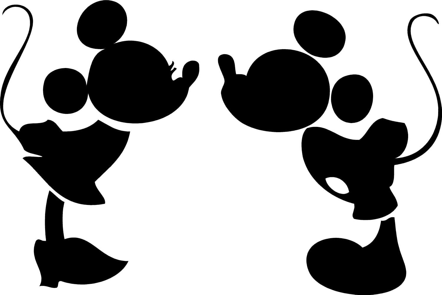 1500x1002 Mickey Minnie Mouse Head Silhouette N3 free image