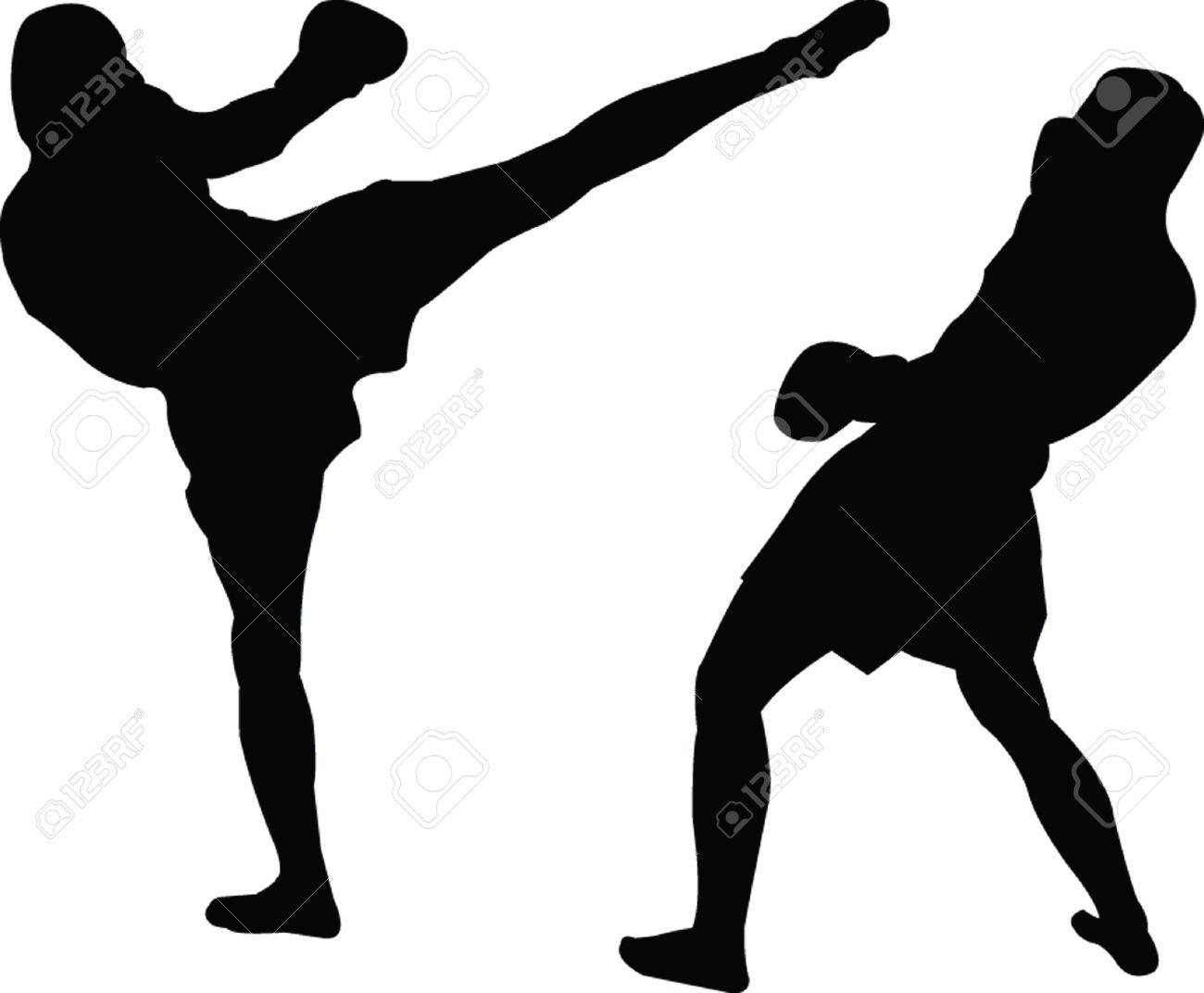 1300x1072 Kickboxing Silhouette