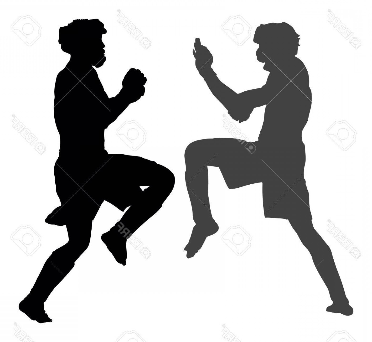 1560x1434 Photostock Vector Two Mma Fighters In Ring Vector Silhouette