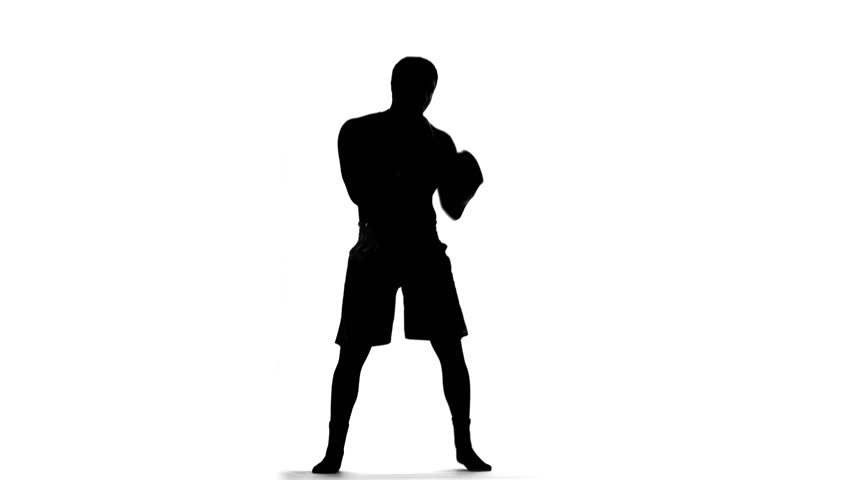 852x480 Silhouette Of Boxer With Boxing Gloves Throwing Punches On White