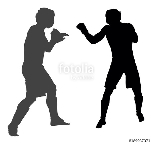 500x475 Two Mma Fighters Vector Silhouette Illustration Isolated On White