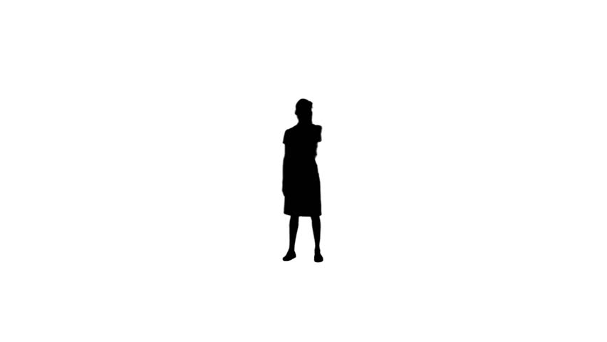 852x480 A Silhouette Of A Woman On Her Mobile Phone Against A White