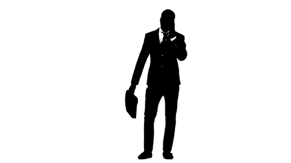 590x332 Man Holds A Briefcase And Speaks On The Phone. White Background